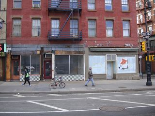 Marrakesh Express: The long-empty deli/falafel place on the left and the Italian restaurant on the right are to become a new Morrocan restaurant on Hudson Street in New York's West Village