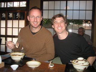 Michael and I having soba noodles in broth at Namiki Yabusoba in Tokyo