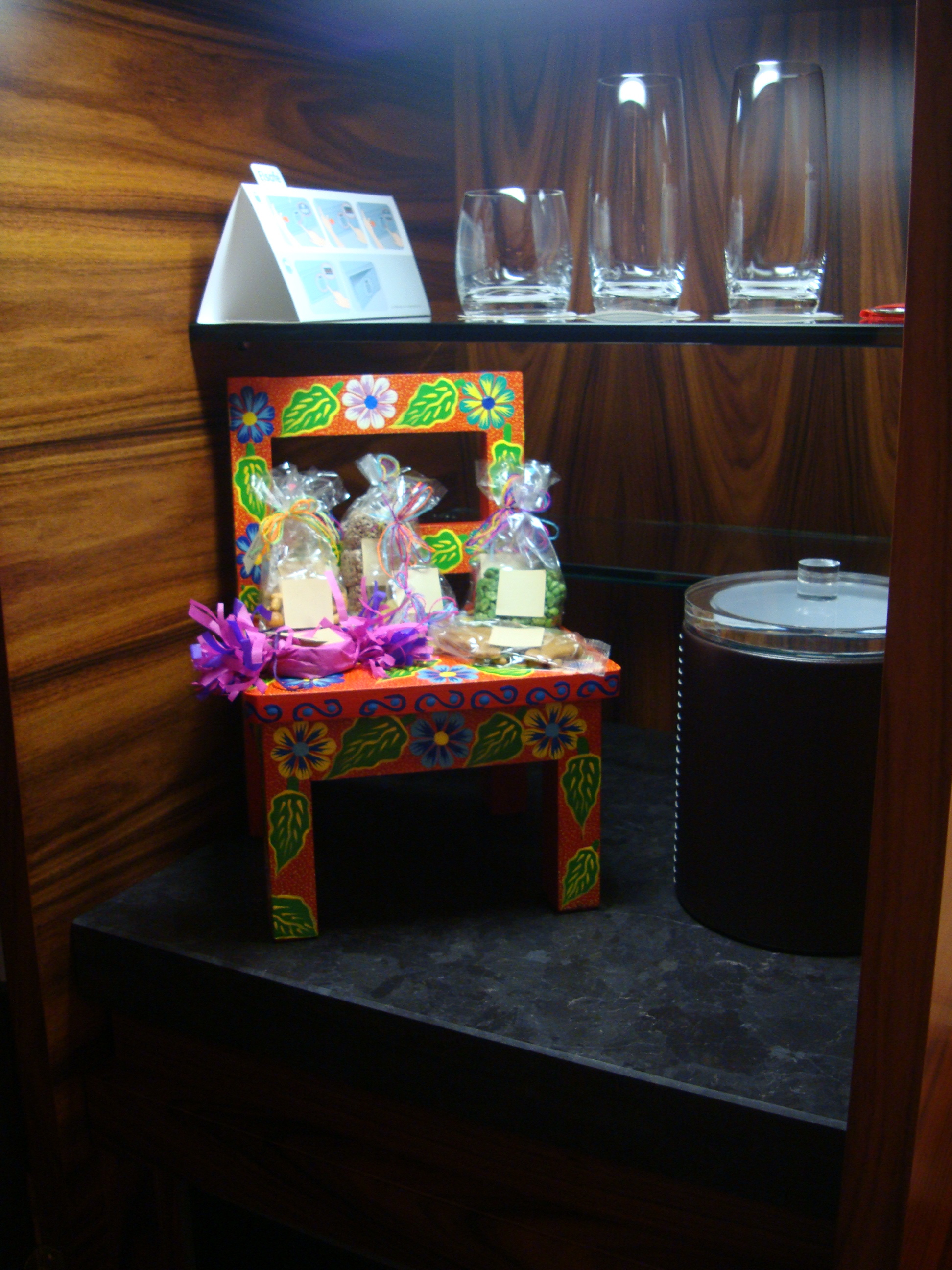 The minibar at Las Alcobas Hotel in Mexico City contains free Mexican snacks and candies—a nice touch